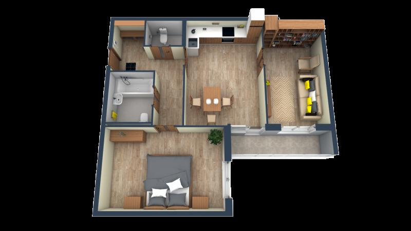 Планировка Двухкомнатная квартира площадью 66.45 кв.м в ЖК «